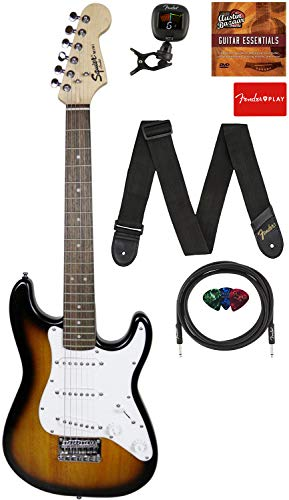 Fender Squier 3/4 Size Kids Mini Strat Electric Guitar Learn-to-Play Bundle with Tuner, Strap, Picks, Fender Play Online Lessons, and Austin Bazaar Instructional DVD - Brown Sunburst