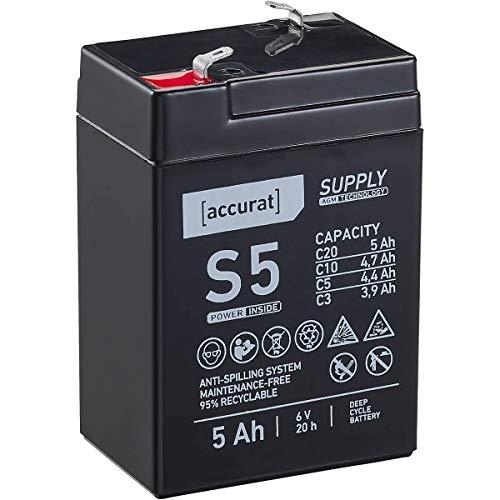Accurat 6V 5Ah Blei-Akku AGM Blei-Batterie Zyklenfest Supply-Serie VRLA Versorgungsbatterie S5 (wartungsfrei)