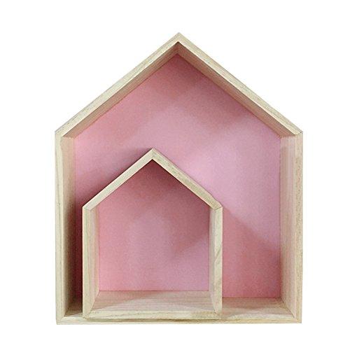 Pueri, hölzernes Lager-Wand-Regal in Hausform, Auslage, Hängeregal, Zimmerdekoration für Kinder rose