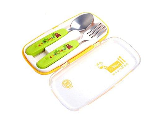 Vaisselle pour deux pièces enfants Cuillère Fourchette baguettes (Vert)
