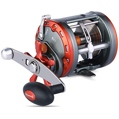 Sougayilang Trolling Reel Level Wind Fishing Reel Conventional Jigging Reel for Ocean Fishing Salmon-2000-Right Handed