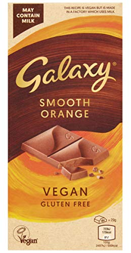 Galaxy Vegan Chocolate, Smooth Orange, Perfect for Vegan Gifts and Hampers, Great Vegan and Gluten Free Snack, 100 g - Pack of 10