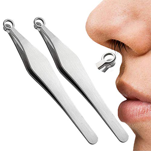 Radrdior 5Pcs Universal Nose Hair Trimming Tweezers - Mens Womens Ear and Nose Hair Trimmer - Stainless Steel Nose Hair Trimmer Eyebrow Long Tweezers for Sideburns,Brow, Body,Nasal (2 Pcs/Set)
