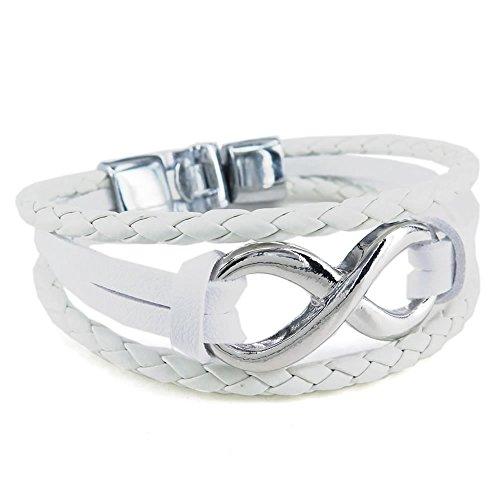 KONOV Schmuck Herren Damen Armband, Infinity Lieben Armreif, Leder Echtleder Legierung, Weiß Silber