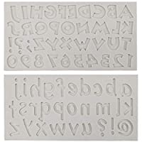 アルファベットフォンダン型 アルファベット型 Yizeda 大文字 小文字 シリコン型 アラビア数字 チョコレート型 DIYクッキー ケーキデコレーション カップケーキトッパー アイスキューブ ペースト粘土クラフト