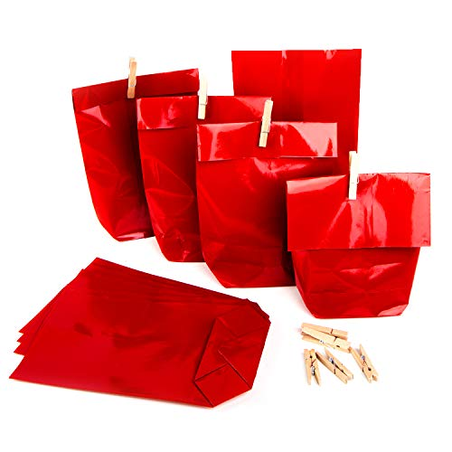 50 x Weihnachten Verpackung Papiertüte ROT 14 x 22 x 5,5 cm + 50 Holzklammern Weihnachtsverpackung Kunden Kollegen Adventskalender basteln