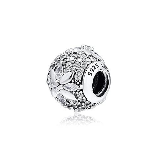 LILANG Pulsera de joyería Pandora 925, ajustes Naturales para Collares, Cuentas de pavé de Copo de Nieve con abalorio de Plata esterlina Transparente para Mujeres, Regalos de Bricolaje