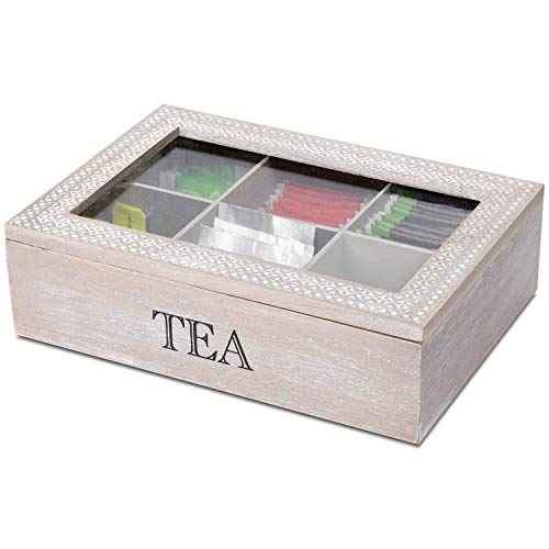Aufbewahrungsbox Tea mit Sichtfenster und 6 Fächer, 24x17x7cm, Natur/Weiß, Aufbewahrungskiste...