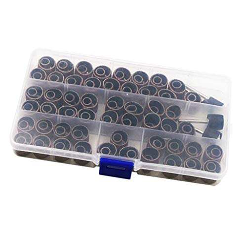 oshhni Conjunto de Anéis de Tambor de Banda de Lixar 104 Unidades para Broca de Unhas com 4 Mandris de Borracha