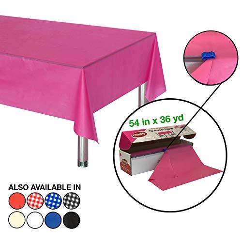 Neatiffy 54 Inch x 108 Voet Dikke Plastic Tafelkleed Roll Party/Banket, Duurzame Tafelhoes (Herbruikbaar/Verwijderbaar) Tafelkleden voor Rechthoek/Rond/Vierkante Tafels, 12 Picknick Pack