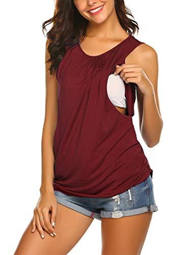 Ekouaer Women Nursing Tank Tops Comfortable Maternity Shirts Breastfeeding Pajamas Top Wine Red M