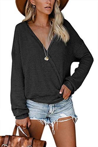 Albe Rita Womens Deep V Neck Wrap Sweaters Long Sleeve Waffle Knit Tops Shirts Pullover, Black,S