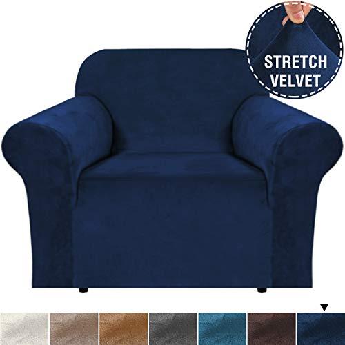 BellaHills Samt Sofabezug Stretching Skid Resistance Schonbezug/Möbelbezug für Wohn-, Dicke und weiche Samt Moderne Sofabezüge (1 Sitzer, Marine)