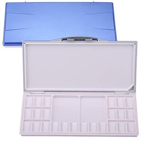 Manci Auslaufsicher Watercolor Tins Palette Paint Case with 24-Wells mit Zwei Zusätzlichen Geräumigen Mischbereichen, Blauer Falten-Peel-Off Palette für Aquarell, Gouache, Acrylfarbe (Blau, One Size)