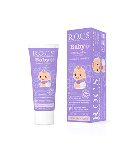 R.O.C.S. Baby Lime Blossom Toothpaste - Soft Protective Formula for Teeth and Gums - for Babies and Toddlers 0-3 Years Old - Mild Fruity Flavor, Safe to Swallow - Natural, No Fluoride or Sulfate