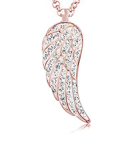 Akki Damen Flügel Halskette 70cm Auswahl Farbe Silber Rosegold Gold Rot Grün Gelb Grün Engel Engels Flügel flügelkette hängende Halskette mit Swarovski Kristall Engels Geschenk Rosegold
