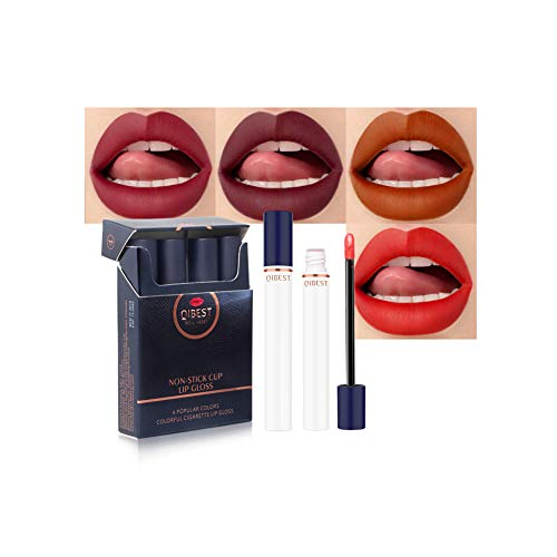 Allbesta Metallic 4 Farben Lipgloss Set Matt Nude Flüssigkeit Lippenstift