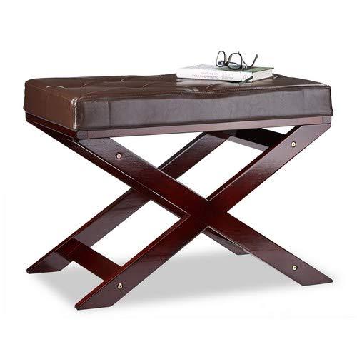 Relaxdays zitbank met kussen zonder leuning, van hout en kunstleer, eenzits, HxBxD 48 x 64 x 40, bruin