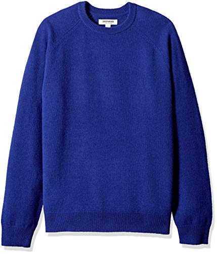 Amazon Brand - Goodthreads Men's Lambswool Stripe Crewneck Sweater, Bright Blue, Medium