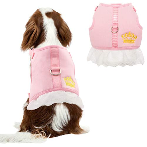 BINGPET Pink Small Dog Harness Dress - Soft Mesh Vest Puppy Harness for Small Dogs, Cats