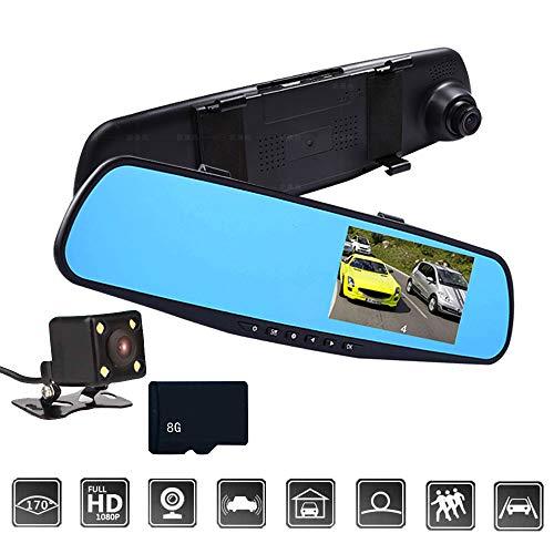 Godagoda Autocamera, 3 inch, 1080P, dual/single lens, auto, DVR, spiegel, dashcam recorder, 1 stuks Dualkamera zwart (8 GB SD-kaart).