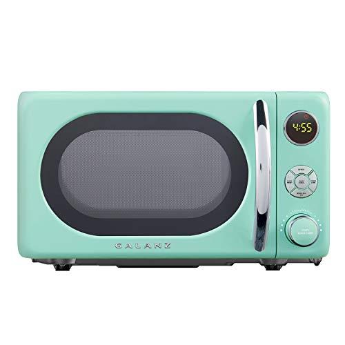 Galanz GLCMKA07GNR-07 Retro Microwave Oven, LED Lighting, Pull Handle Design, Child Lock, Surf Green, 0.7 Cu.Ft
