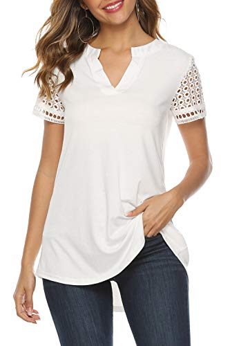 Features: high low tops for women,lace short sleeve,Classic notch v-neck,flare front,pleated back,could hide the tummy well Occasion: Long tunics for women to wear with leggings,jeans,pants and shorts.Great blouses for women work,casual,vocation.wome...