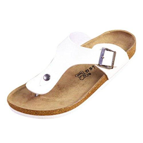 Juleya Herren Damen Pantoletten Tieffußbett Sandalen Schuhe Badeschuhe Kork rutschfeste Strandsandalen Unisex Sommerschuhe Flip-Flop Schwarz Weiß 35-45