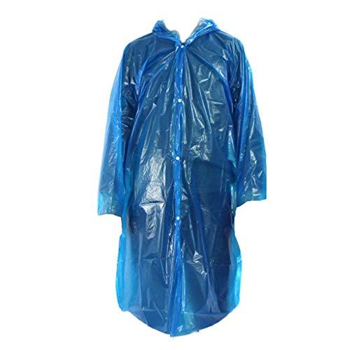 DALUXE Kunststoff-Regen-Abdeckung Tragbare Regen Einweg-Außen Transparent Regenmantel mit Kapuze Wasserdicht Camp Regen Cape mit Kapuze Ponchos (10 Stück),Blau