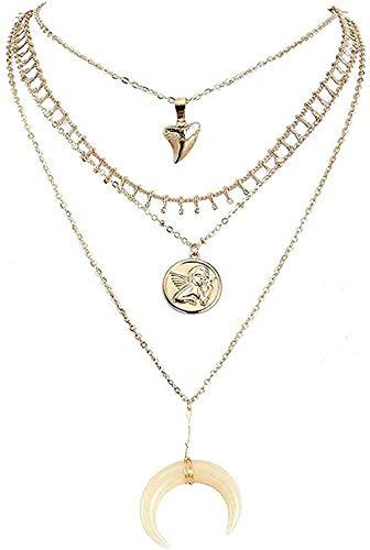 Yiffshunl Collar de Moda en Capas de Luna Blanca Collares Pendientes para Mujer Cadena Gargantilla Collar joyería