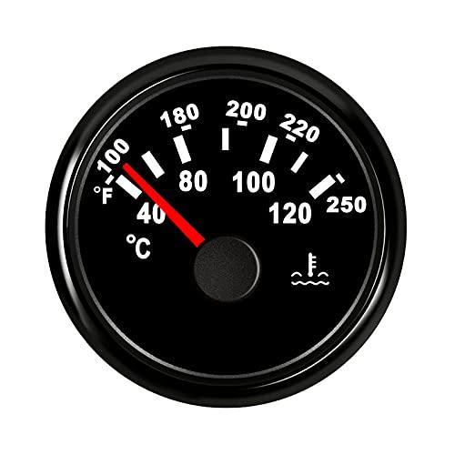 Jauge de température de l'eau au mètre 40-120℃ avec rétro-éclairage 52mm 9-32V