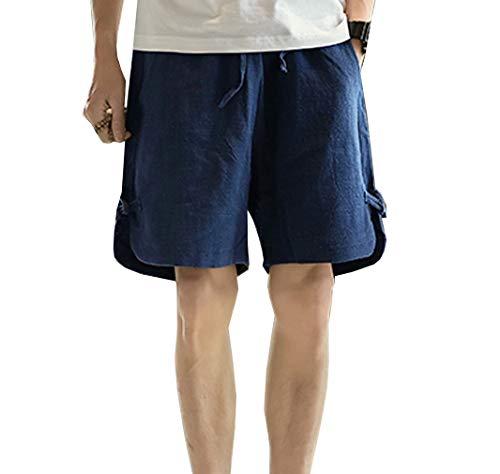 Herren Short Kurz Hosen Casual Männer Nner Bequme Sommer Fit Festlich Bekleidung Pocket Jungen Strand Arbeit Regular Young Fashion (Color : Navy, Size : XL)