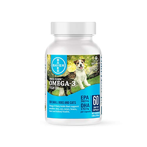 Free Form Snip Tips Omega-3 Fish Oil Liquid Supplement for Small Dogs and Cats, 60 Count