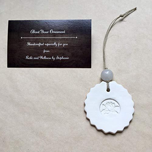 Lotus Flower Diffuser Christmas Ornament White Jade Bead Yoga Gift for Women Men Coworker Friend