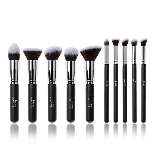 Jessup 10PCS nero/argento professionale fondotinta liquido pennello Kabuki blush pennelli da trucco bellezza cosmetici make up Tools
