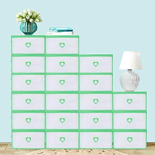 20 cajas de zapatos apilables translúcidas, caja de almacenamiento de plástico con borde verde, 31 x 21 x 12 cm, para guardar zapatos, revistas