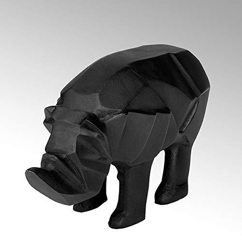 Lambert Rhino Figur Aluminium Sandguß anthrazit Patina H 13cm L 24cm B 9,5cm 40903