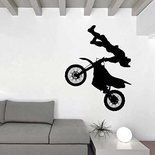 jiushivr Motocross Jump Stunt Performer Vinyl Aufkleber Wandaufkleber Motorrad Racer Moderne Dekoration Tapeten 42x54cm