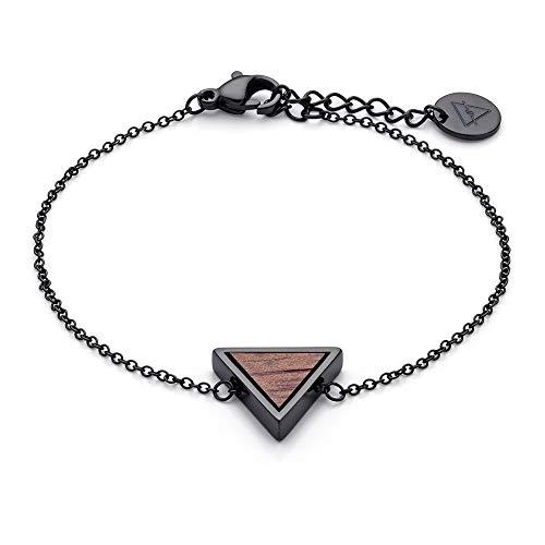 KERBHOLZ Holzschmuck – Geometrics Collection Triangle Bracelet, filigranes Frauen Armband in schwarz mit Dreieck Anhänger aus Naturholz, größenverstellbar (Armbandlänge 15 + 2,5 cm)