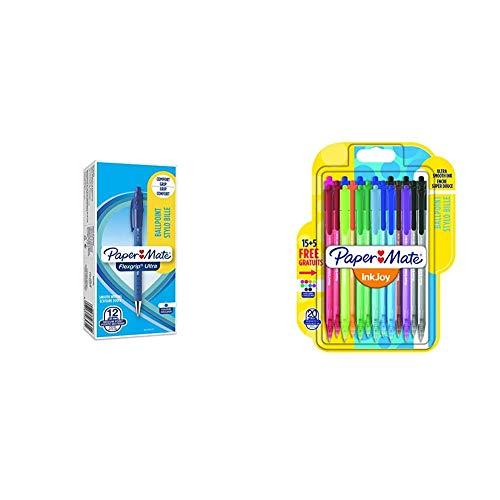 Paper Mate Flexgrip - Bolígrafo, punta mediana de 1.0 mm, caja de 12, color azul + InkJoy 100RT, bolígrafo retráctil, punta media de 1mm, Pack de 20, surtidos