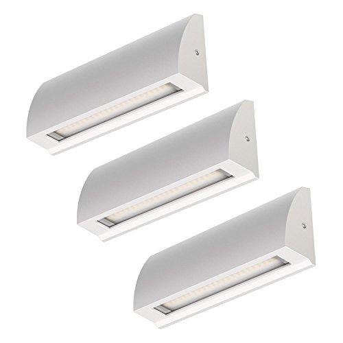 ledscom.de LED Strahler Segin Treppenlicht für innen und außen, flach, Aufbau, warm-weiß, 400lm, 3 STK.