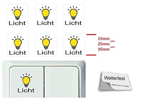 Generisch 6 Stück Schalter Aufkleber Set Licht Schalteraufkleber Schalter Sticker (R23/10) (25x25mm)