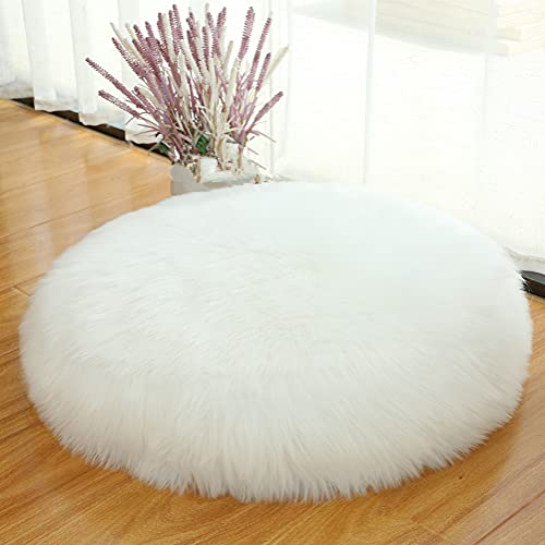 Unstuffed Floor Pillow Cushion Seating Cover Large Floor Cushion for Sitting, Fluffy Floor Seat Cushion Cover, Faux Fur Fuzzy Oversized Seat Pillow for Adult, Big 24' Inch White (Round 24 inches)