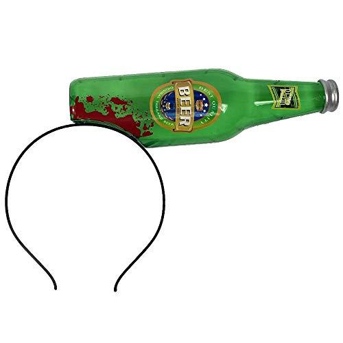 24costumes Bierflasche zerbrochen im Kopf steckend | Scherzartikel | Blut verschmierte Horror Bier-Flasche | Walking Dead Zombie