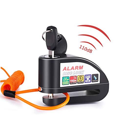Bremsscheibenschloss mit Alarm,110dB Wasserdicht Alarm Scheibenschloss 6mm Pushdown mit 1.5m Erinnerungskabel für Motorrad und Fahrrad