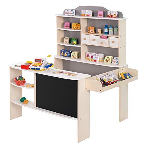 Roba - Tienda de campaña (incluye accesorios, color natural, blanco/gris, 4 cajones, reloj, pizarra, mostrador y mostrador lateral)