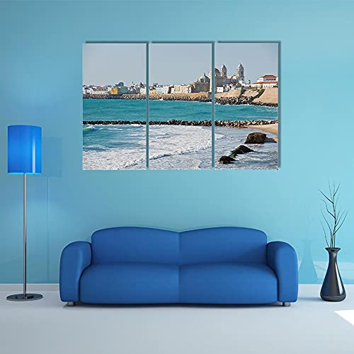 QWASD Cuadro sobre Lienzo 3 Piezas Playa De Cádiz En Andalucía Cuadros En Lienzo 3 Hojas Pintura De Arte De Pared Modular De 3 Piezas De La Sala Dormitorio De Estar-50X70Cmx3 Piezas