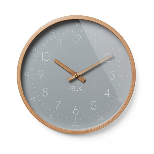 QLK Wanduhr grau geräuscharm, SLIGHT, lautlose & moderne Design Uhr mit Holzrahmen und Zeigern, Ø31 cm (grau)