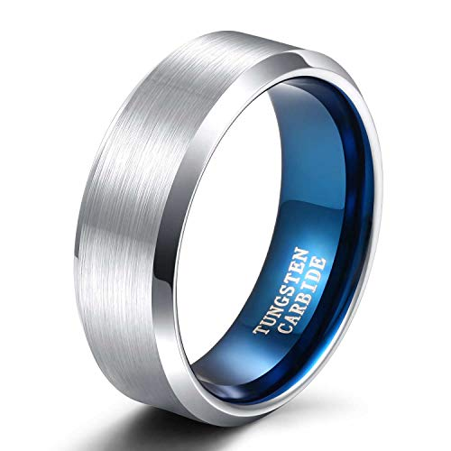 TRUMIUM 8mm Mens Tungsten Wedding Bands Matte Brushed Two Tone Silver Blue Wedding Band Comfort Fift Size 7