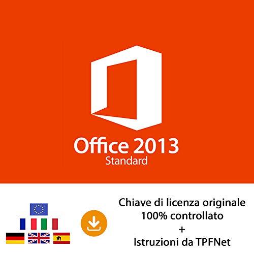 MS Office 2013 Standard 32 bit e 64 bit - Chiave di Licenza Originale per Posta e E-Mail + Guida di TPFNet® - Spedizione max. 60min